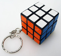 New Keychain  3x3x3 30mm Black Magic Cube Keychain 3x3 mini Magic cube puzzle
