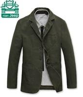 NianJeep Brand 2015 100% Cotton Men's Casual Blazers,Khaki/Army Green Sports Outwear,Wholesale Price Outdoor Brand Men Jacket