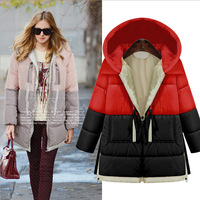 High Quality New 2014 Winter women warm down jacket loose hoodie coat white duck medium-long outerwear 3 Styles Plus