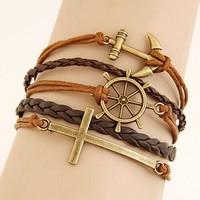 Leather Charm Bracelet Braid Multilayer Bracelet Infinity Anchor Rudder Bracelet Europe cross Bracelets Bangle