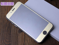 500pcs/lot Free Shipping Colorful Gold Full Cover Front Tempered Glass Screen Guard Protector For iPhone 6 4.7