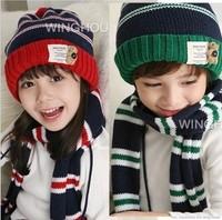 Baby hat child autumn and winter hat child yarn scarf muffler scarf cape pocket male child hat cotton hat