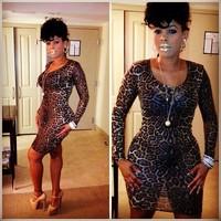 014 Super explosion models of European and American leopard long sleeved slim bandage mini bodycon dress frozen dress elsa dress
