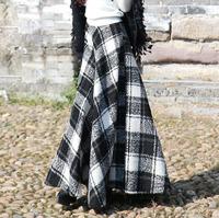 2015 New fashion gradient color long wool skirt high waist vintage maxi skirt plus size women's autumn and winter woolen skirt