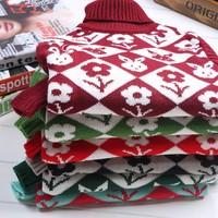 Hot-selling 2014 children's clothing sweater child thermal thickening slim basic yarn shirt children sweater5-9 years