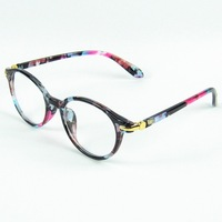 Retrol Blue Printing Round Frame Eyeglasses Fashion Girl Optical Frame Concise Metal Decroration 5 Colors
