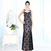 Formal Evening Gowns Embroidered Black Silk Lace Evening Dress Vestidos De Festa Longo Rhinestone Beaded Elegant Evening Dress