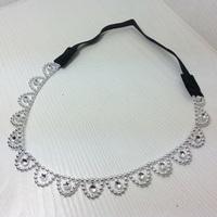 120pcs/lot women's classic elastic headband blingbling hair band beautiful silver color hair accessories wholesale