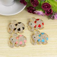 Free shipping colorful crystal rhinestones animal elephant shape flatback phone case decoration DIY jewelry decoration charms