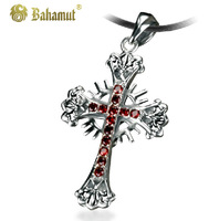 Bahamut 925 silver jewelry Jesus Christ Holy Blood Sided Cross Pendants Men's Necklace Free shipping