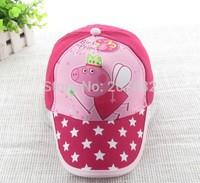 Free Shipping !100pcs/Lot Popular Peppa Pig Cap Cartoon Visors Sun Hat  for Kids A001 on Sale Wholesale
