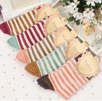 Autumn socks female fresh national wind stripe cotton tube socks