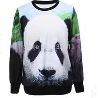 2015 New Harajuku Women 3D Digital Panda Printed Pollover Hoodies Ladies Street Style Fashion Casual Sweatshirt Moleton Feminino