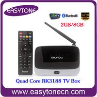 Rk3188 Quad Core XBMC fully loaded CS918 TV BOX 1G/8G wifi Bluetooth support 1080p video RJ45 AV HDMI Smart TV Media Player