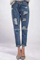 2014 New design hot sale autumn winter loose hole capris ripped jeans women jeans