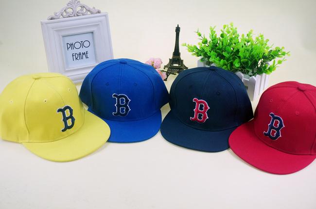 Korean children baby baseball cap hip-hop B word red sox baseball cap hat tide(China (Mainland))