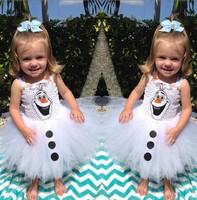 Free Shipping Frozen Olaf Baby tank Dresses Princess summer tutu dress robe snowman Girls ball gown Jumper skirt