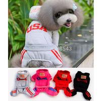 Free Shipping !!4 colors 5 sizes Warm Pet Coat  Hood Winter Fashion USA Dog Pet Jumpsuit