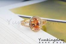 2014 lovely design 18 k gold plated champagne cubic zircon simple fashion lady women for rings