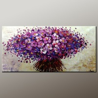 A league Handpainted oil painting New purple flower .wall decor on canvas12x24inch(30x60cm)