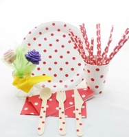 New dot Party Supplies paper bags Wooden Forks Knifes Spoons paper cups paper straws round paper plates
