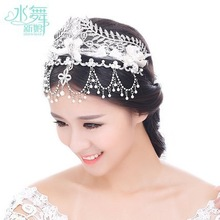 Jewelry suit tassel marriage lace bow hair tire crown/ bridal hair accessories/ Free shipping