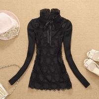 Brand new 2014 fashion Autumn and  Winter women's basic shirt slim female long-sleeve wool sweater  free shipping