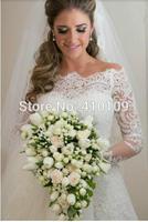 Romantic Princess Lace Wedding Dress Long Applique Bride Dress with Half Sleeve vestido de noiva
