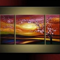 3 league Handpainted New the plum blossom .decorative flowers on canvas 8x20inchx2 20x20inch (20x50cmx2 50x50cm)
