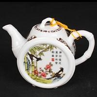 Free shipping traditional teaware flat bamboo shape double Quail dehua white porclain teapot