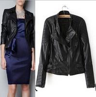 2014 New Fashion Autumn Winter Women Brand Genuine Soft Leather Jackets Black Blazer Zippers Long Sleeve Motorcycle Coat