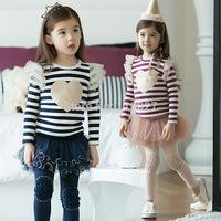 baby girl clothing set stripe t shirt + lace tutu leggings children's sets butterfly sleeved fashion suit 5pcs/lot  kids wear