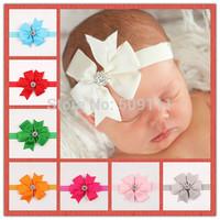 New Style Rhinestone Headband Hairband Baby Girls Flowers Headbands Kids Hair Accessories Baby Christmas Gift 10pcs HB298