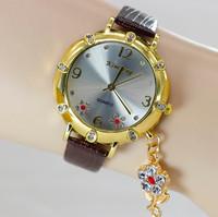 2014 New Fashion Crystal Rhinestone Rose Flower Leather Quartz Dress Watches Women Ladies Casual Wristwatch relogio feminino