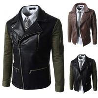 2014 hot new men's fashion slim disign high quality motorcycle jacket kepi wallet sleeve novel design leather men M-XXL H728