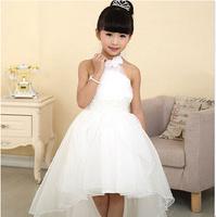 Hot Sale 2014 Flower Girl Dresses For Weddings Elegant Children's White Long Trailing Dress,Wedding Party Dress For Girls 3-14Y
