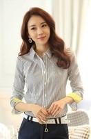 Fashion Casual Shirts 2015 Women Tops Spring Autumn Female Long-Sleeved Striped Shirt Women's Clothing Women Blouses Plus Size