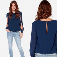 New Fashion Blusas Femininas 2015 Plus Size Long Sleeve Loose Chiffon Women Blouse Tops Female Shirts C145