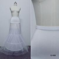 In Stock Cheap Mermaid Crinoline Petticoat For Wedding Dresses White 2-Hoop 3-Layer Trumpet Tulle Underskirt For Women's Dresses