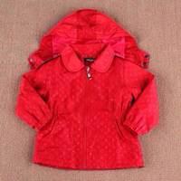 Free shipping 2014 new children's clothing Spring Girls plaid lining hooded Windbreaker joker Children's trench coat Jackets