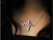 New fashion jewelry The unique design electrocardiogram charm pendant necklace for lovers' mix color N1536
