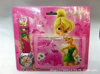 New 10sets Tinkerbell Children's CARTOON WATCH W/GIFT AND wallet+Free Shipping Drop shipping