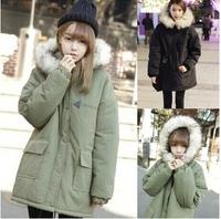 * Panda * 2014 new winter wind Academy thick warm fur collar loose cotton padded female