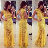 Elegant yellow lace Prom dress Mulheres moda vestido de baile renda amarela elegante vestidos de festa Vestido Longo