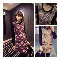 * Panda * 2014 Winter new Korean version of the badge stitching knit long-sleeved dress women