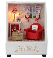 Christmas Birthday gift model building DIY wooden music doll house mini dollhouse