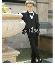 Por encargo Kid Notch Collar niños traje para boda niños vestimenta ( Jacket + Pants + Tie + Shirt + Vest )(China (Mainland))