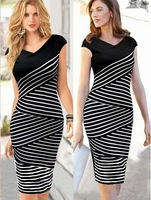 2014 new hot style black and white striped dress Slim large size women's summer dress