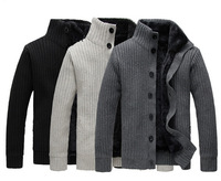 Fashion new men's autumn and winter plus velvet padded collar Cardigan Sweater jacket