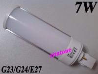 10pcs Free shipping sale E27 G24 G23 7W LED Bulb AC85-265V 770LM 7*1w led lamp 2 year warranty
